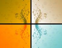 Vier bloemenachtergronden Stock Afbeelding