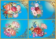 Vier bloemontwerpen op blauw Stock Fotografie