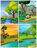 Vier bosscènes met rivieren vector illustratie