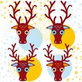 Vier braune Rotwild auf einem orange hellblauen Hintergrund Neues Jahr Winter Lizenzfreie Stockbilder