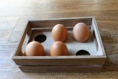 Vier bruine eieren in een houten doos met ruimte voor zes eieren, in wind Stock Fotografie