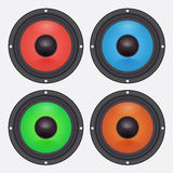 Vier bunte Audiosprecher Autozubehör Stockfotografie