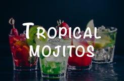 Vier bunte geschmackvolle alkoholische Cocktails in Folge auf dem Barstand Tropische mojitos Benennung lizenzfreies stockbild