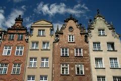 Vier bunte Häuser in Gdansk Stockbild