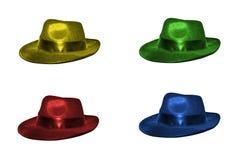 Vier bunte Hüte lizenzfreie stockfotos