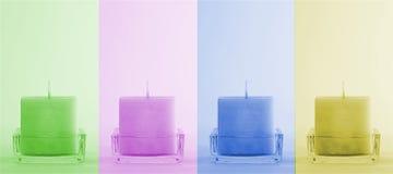 Vier bunte Kerzen Stockfotos