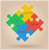 Vier bunte Puzzlespiel-Stücke Geschäft Infographic Stockfotografie