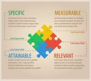 Vier bunte Puzzlespiel-Stücke Geschäft Infographic Lizenzfreie Stockfotos