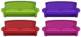 Vier bunte Sofas Stockfotos