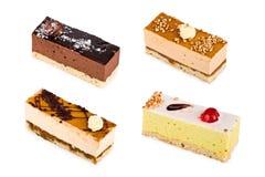 Vier cakes van een soufflé met glans Stock Fotografie