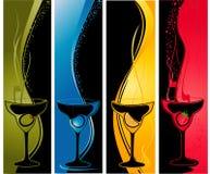 Vier cocktailbanners Royalty-vrije Stock Afbeeldingen