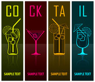 Vier cocktailsilhouetten op dark Royalty-vrije Stock Foto's