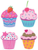 Vier cupcakes Royalty-vrije Stock Afbeeldingen