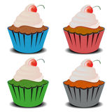 Vier Cupcakes Stock Fotografie