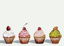 Vier cupcakes Stock Foto's