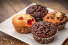 Vier cupcakes op een plaat Royalty-vrije Stock Foto