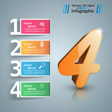 Vier 3D digitale Illustration Infographic Stockfoto