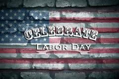 Vier Dag van de Arbeid met Amerikaanse Vlagachtergrond stock afbeeldingen