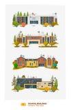 Vier de schoolbouw stock illustratie