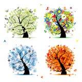 Vier de seizoen-lente, de zomer, de herfst, de winterboom Royalty-vrije Stock Afbeelding