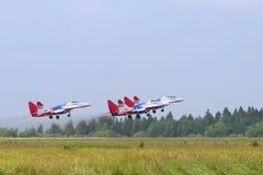 Vier de vechtersvliegtuigen van Mig 29 Royalty-vrije Stock Foto's
