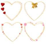 Vier decoratieve harten Stock Afbeelding