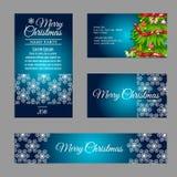 Vier Designer Christmas-Visitenkarten Stockfotos