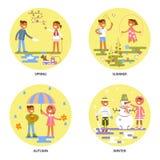 Vier die seizoenen met babys worden geplaatst vector illustratie