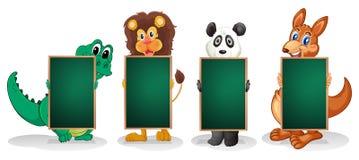 Vier dieren die een lijn met lege borden vormen vector illustratie