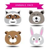 Vier dierlijk het karakterontwerp van het gezichtsbeeldverhaal Royalty-vrije Stock Afbeelding