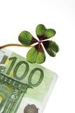 Vier-doorbladerde klaver op 100 Euro bankbiljet, close-up Royalty-vrije Stock Fotografie