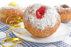 Vier doughnut voor hanukkah stock foto's