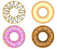 Vier Doughnuts met kleurrijke verglazing Royalty-vrije Illustratie