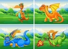 Vier draken op het gebied stock illustratie
