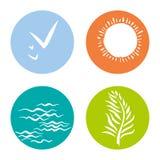 Vier ecopictogrammen Eenvoudige ronde symbolen Stock Afbeelding