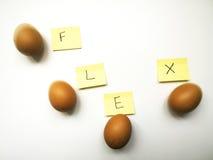 Vier eieren buigen op een rij en de bewegingsopeenvolging Stock Foto's