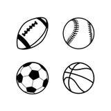 Vier einfache schwarze Ikonen von Bällen für Rugby, Fußball, Basketball und Baseball tragen die Spiele zur Schau, lokalisiert auf Stockfotos