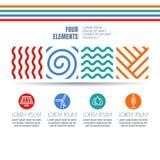 Vier elementen vatten lineaire symbolen en alternatieve energiepictogrammen samen Royalty-vrije Stock Foto