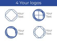 Vier emblemen in blauwe kleuren royalty-vrije illustratie