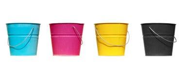 Vier emmers verschillende kleuren Royalty-vrije Stock Foto's
