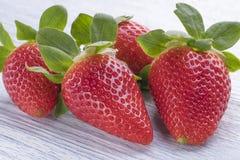 Vier Erdbeerfrüchte auf einem weißen hölzernen Hintergrund stockfotografie
