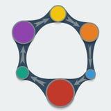 Vier Fahnen eingestellte Vektorschablonen Farbiges Kreisdiagramm in metaball Art Lizenzfreies Stockfoto
