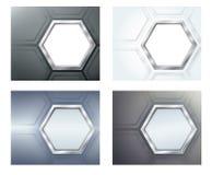 Vier Fahnen mit Polygonen Stockbilder