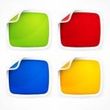 Vier farbige Aufkleber Stockfoto