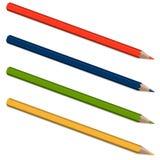 Vier farbige Bleistifte Stockfotos