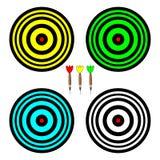 Vier farbige Bretter für das Spielen von Pfeilen lizenzfreie abbildung