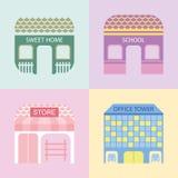 Vier farbige Gebäude Stockfoto