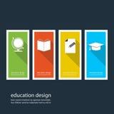 Vier farbige Ikonen, die Einzelteile für Bildung darstellen Lizenzfreies Stockfoto