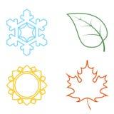 Vier farbige Ikonen mit Jahreszeiten lizenzfreie abbildung