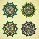 Vier farbige Mandalen Stockfotos